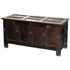Large English Gothic Early 16th Century Coffer Trunk Chest Bo Hand-Carved Wood