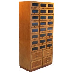 Large English Haberdasher's Cabinet with Glass-Fronted Drawers