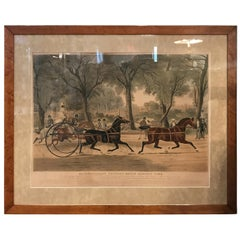 Large English Hand Colored Equestrian Engraving, circa 1839