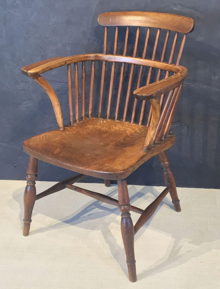 Large English High Back Windsor Armchair For Sale at 1stdibs