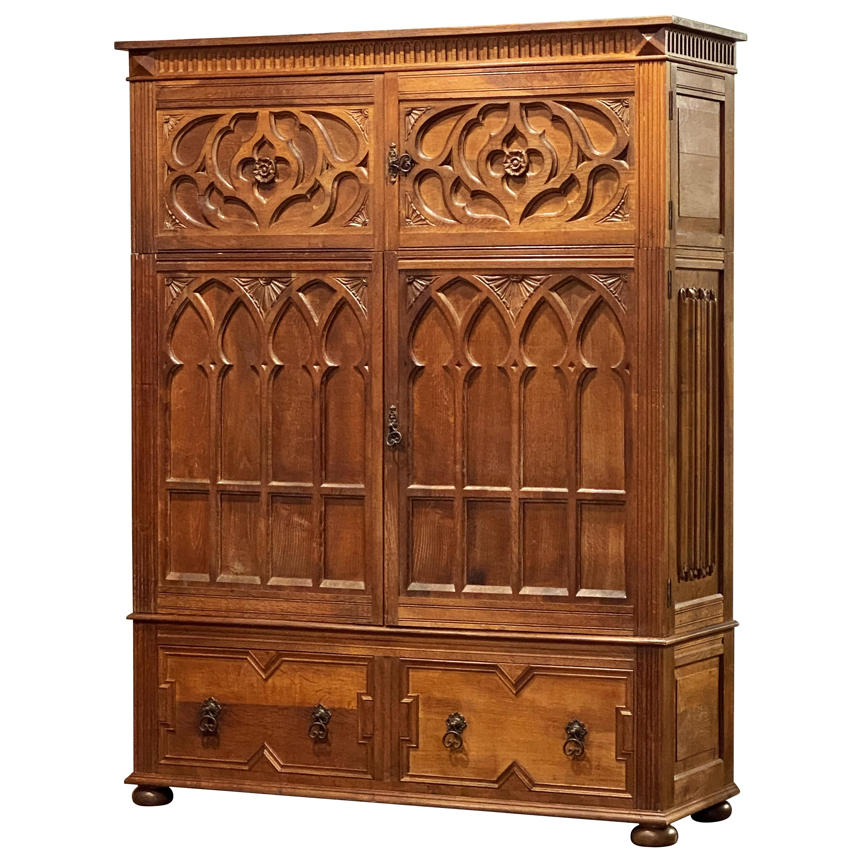 Large English Historical Housekeeper's Cabinet or Cupboard of Oak