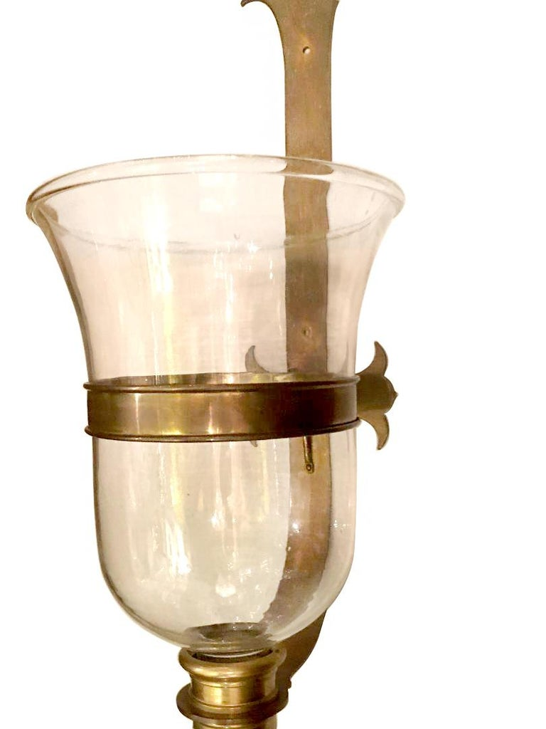 A large single circa 1960's English glass bell jar sconce with bronze hardware and single interior light.  Measurements: Height 30