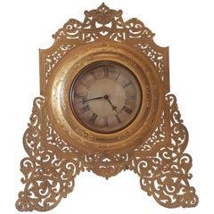 Large English Late 19th Century Ormolu Strut Clock in Manner of Cole