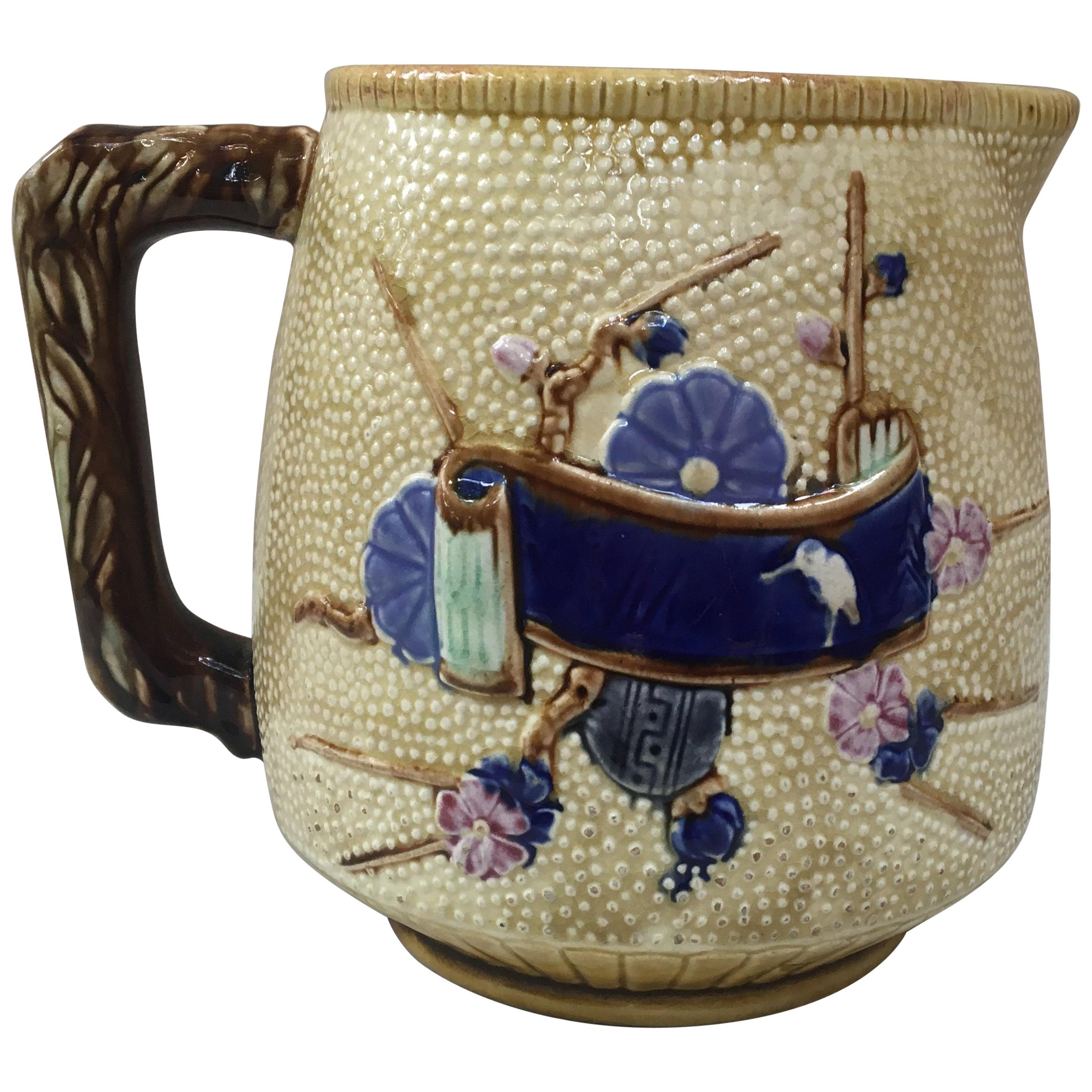 Large English Majolica Japonese Style Pitcher, circa 1880