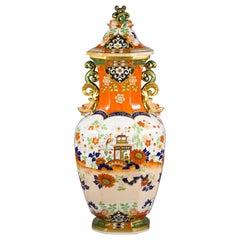 Large English Mason's Ironstone Covered Vase, circa 1820
