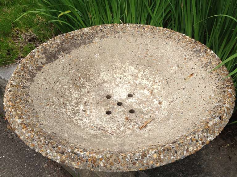British Large English Mid-Century Modern Cast Stone Bowl Planter For Sale