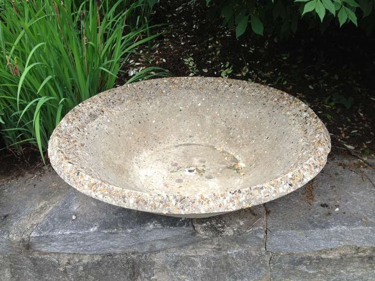 Large English Mid-Century Modern Cast Stone Bowl Planter For Sale 3