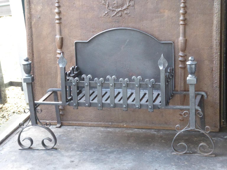 Gothic Revival Large English Neo Gothic Fireplace Grate, Fire Grate For Sale