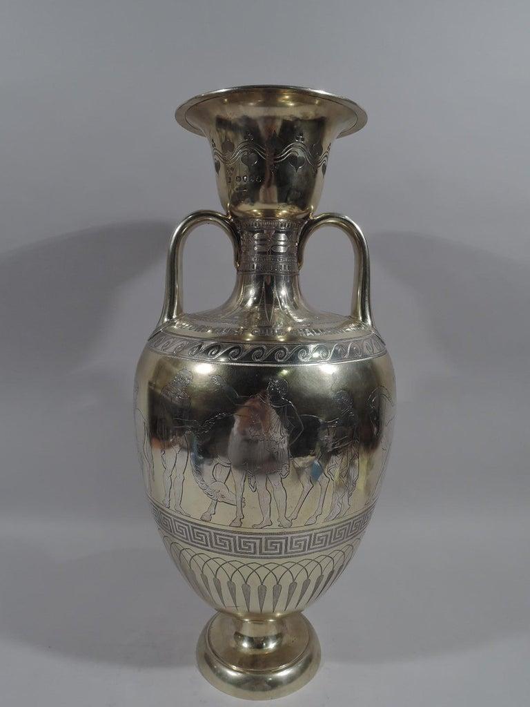 Greek Revival Large English Neo-Grec Gilt Sterling Silver Amphora Trophy Cup For Sale