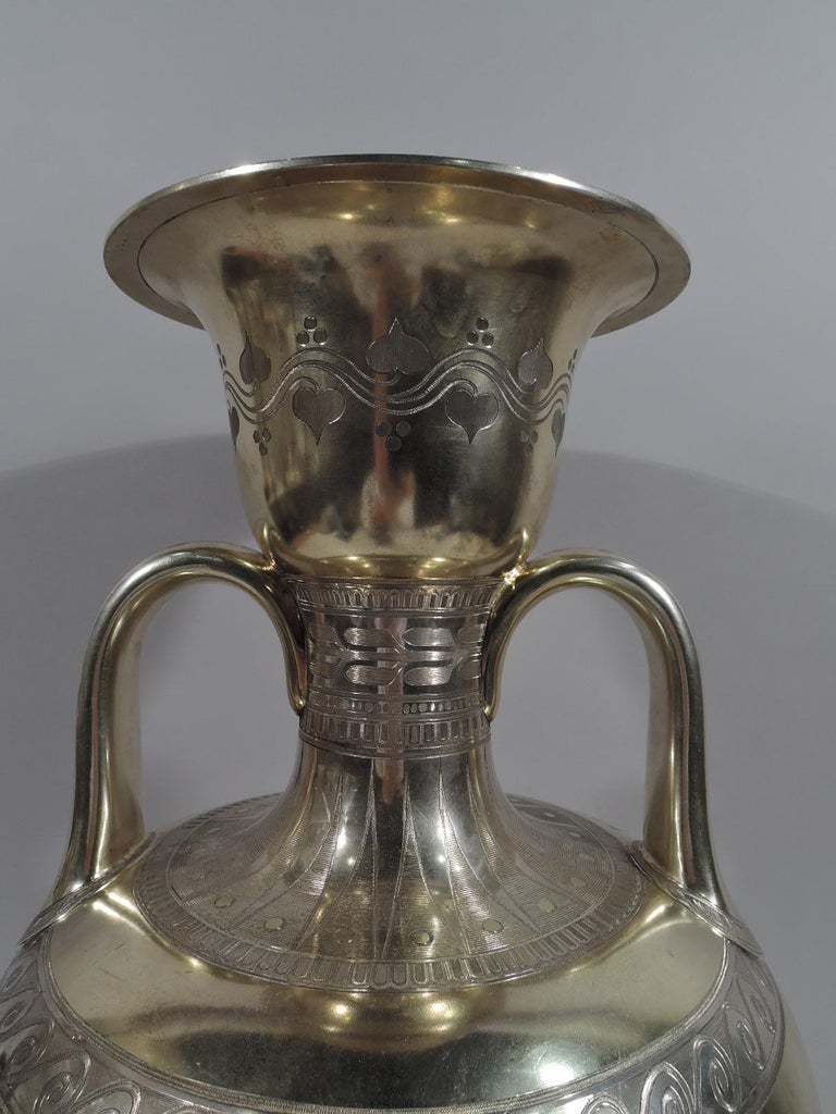 Mid-19th Century Large English Neo-Grec Gilt Sterling Silver Amphora Trophy Cup For Sale