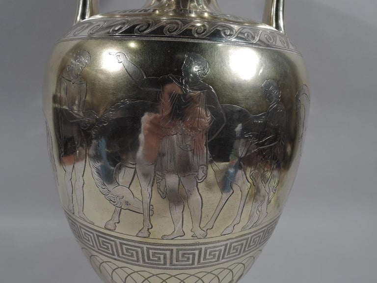 Large English Neo-Grec Gilt Sterling Silver Amphora Trophy Cup For Sale 2