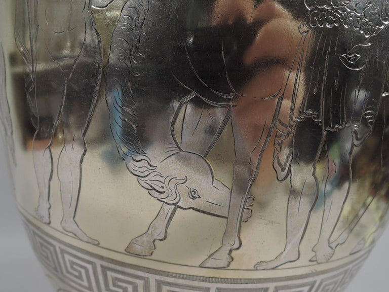 Large English Neo-Grec Gilt Sterling Silver Amphora Trophy Cup For Sale 3