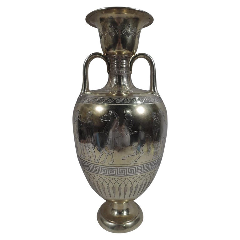 Large English Neo-Grec Gilt Sterling Silver Amphora Trophy Cup For Sale