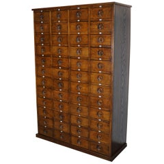 Large English Oak Apothecary Cabinet, 1920s