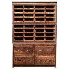 Large English Oak Haberdashery Shop fitters Cabinet