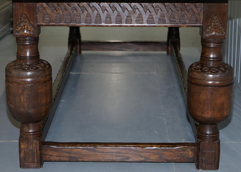 Large English Oak Jacobean Style Refectory Dining Table