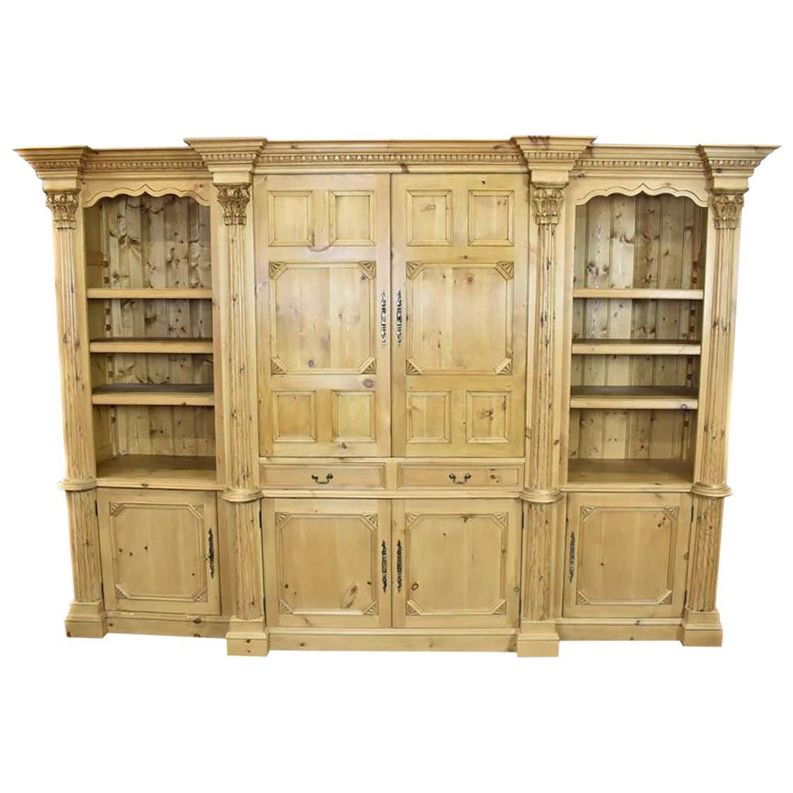 Large English Pine Bookcase Display Cabinet