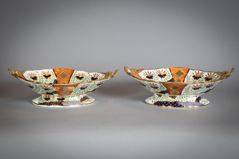 Large English Porcelain Imari Pattern Dessert and Tea Service, Spode, circa 1815 For Sale 6