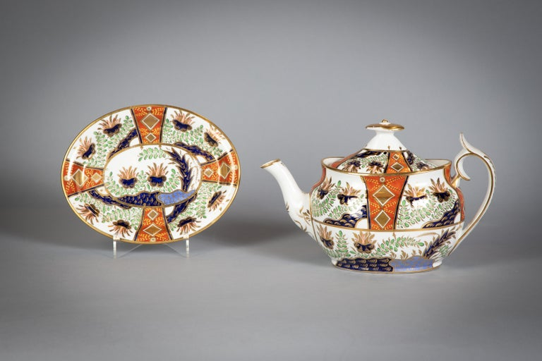 Early 19th Century Large English Porcelain Imari Pattern Dessert and Tea Service, Spode, circa 1815 For Sale