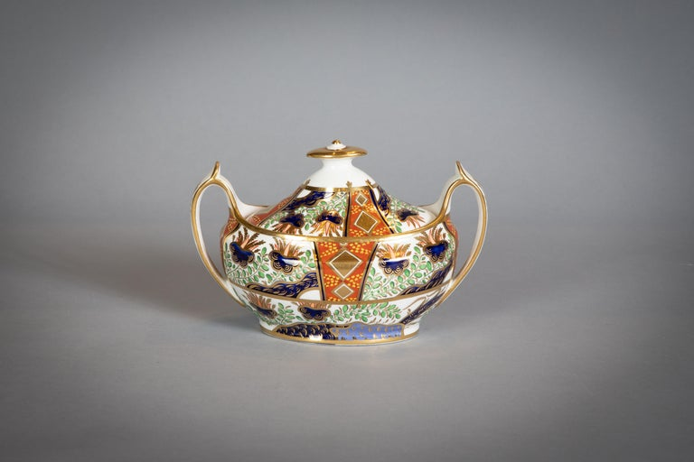 Large English Porcelain Imari Pattern Dessert and Tea Service, Spode, circa 1815 For Sale 3