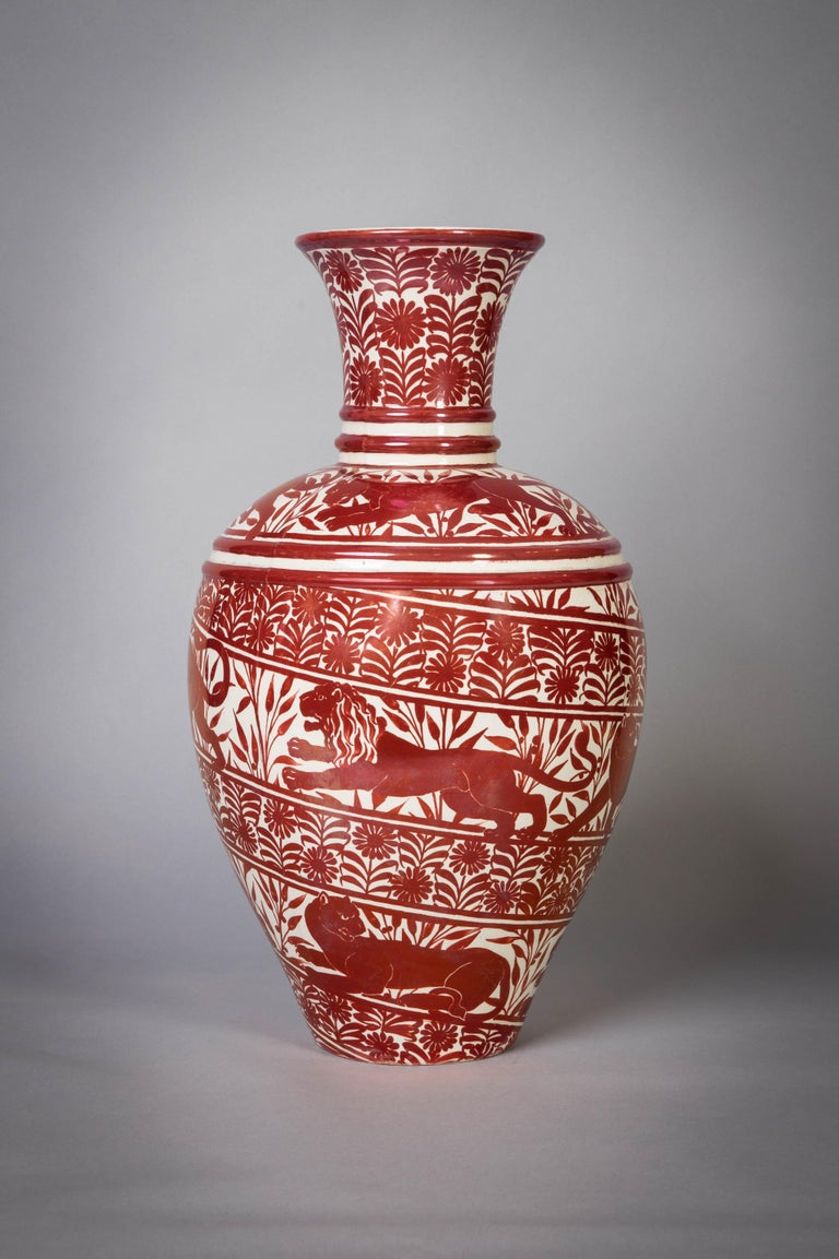 Large English Porcelain Ruby Lustre Vase, William De Morgan, circa 1900 In Good Condition For Sale In New York, NY