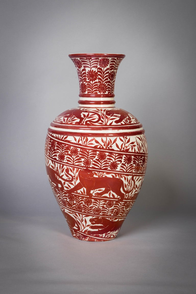 20th Century Large English Porcelain Ruby Lustre Vase, William De Morgan, circa 1900 For Sale