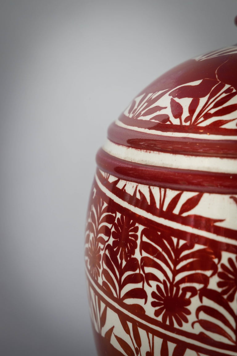 Large English Porcelain Ruby Lustre Vase, William De Morgan, circa 1900 For Sale 1