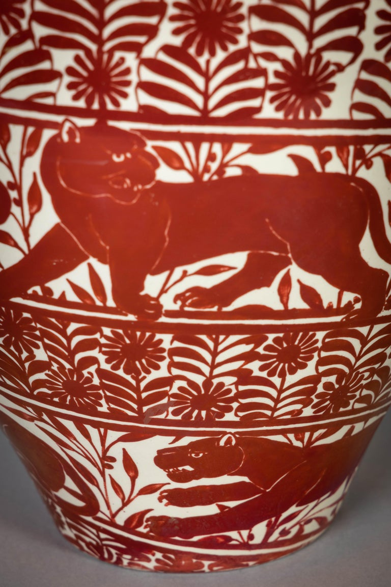 Large English Porcelain Ruby Lustre Vase, William De Morgan, circa 1900 For Sale 2