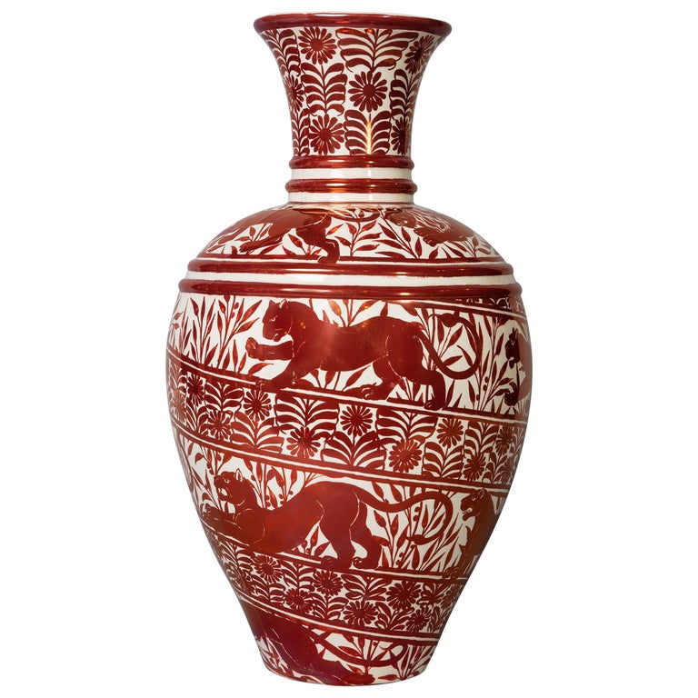 Large English Porcelain Ruby Lustre Vase, William De Morgan, circa 1900 For Sale