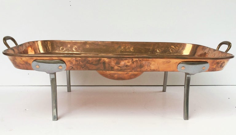Large English Rectangular Copper Serving Tray or Platter on Steel Feet For Sale 7