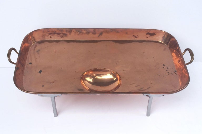 Large English Rectangular Copper Serving Tray or Platter on Steel Feet In Good Condition For Sale In Austin, TX