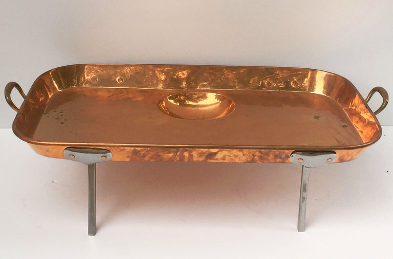 19th Century Large English Rectangular Copper Serving Tray or Platter on Steel Feet For Sale