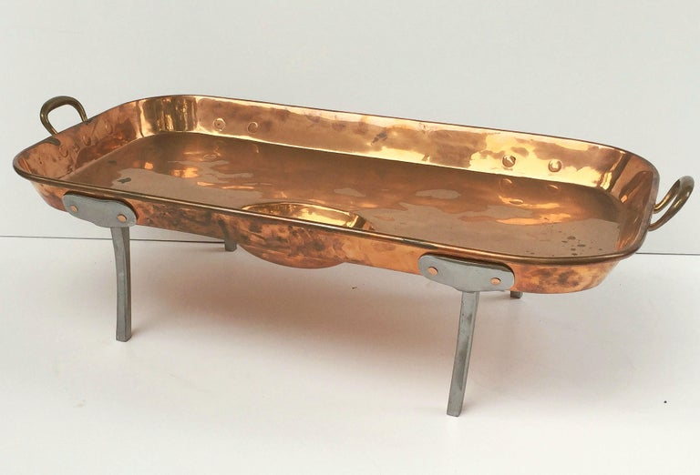 Large English Rectangular Copper Serving Tray or Platter on Steel Feet For Sale 1
