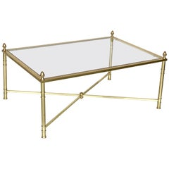 Large English Rectangular Low Coffee or Cocktail Table of Brass and Glass