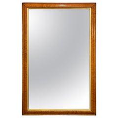 Large English Rectangular Maple and Giltwood Framed Mirror