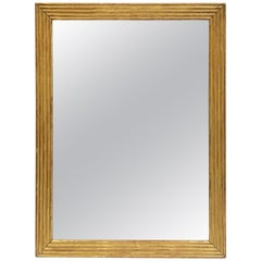Large English Rectangular Mirror with Ribbed Gilt Frame