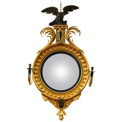 Large English Regency Carved Giltwood and Ebonized Convex Mirror, circa 1800
