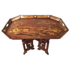 Large English Regency Chinoiserie Japanned Tôle Tray Table