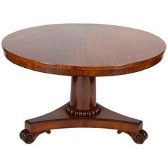 Large English Regency Crotch Mahogany Tilt-Top Table