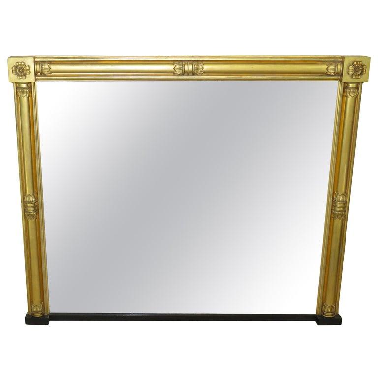 Large English Regency Gilt Overmantle Mirror