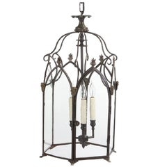 "English Regency Period ""Gothick"" Bronze and Iron Lantern, circa 1810"