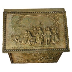 Large English Repousse Brass Slant Top Storage Box