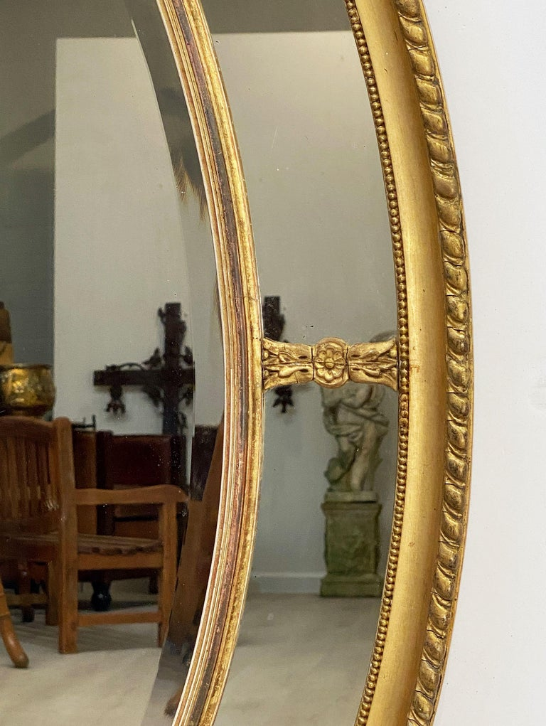 Large English Segmented Gilt Oval Wall Mirror For Sale 4