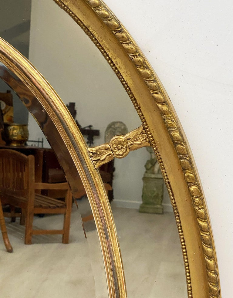 Large English Segmented Gilt Oval Wall Mirror For Sale 5