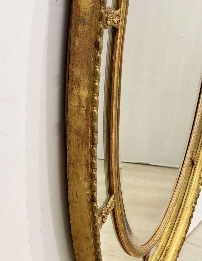 Large English Segmented Gilt Oval Wall Mirror For Sale 8