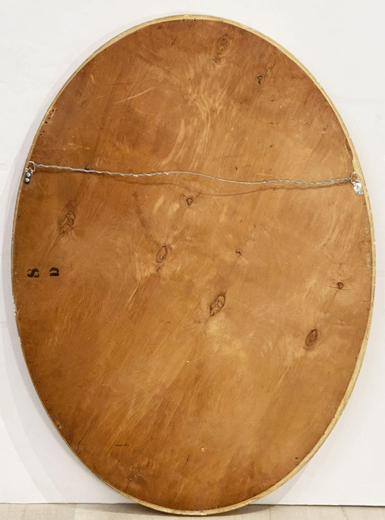 Large English Segmented Gilt Oval Wall Mirror For Sale 10