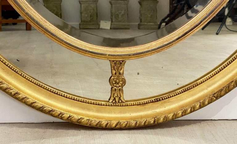 Large English Segmented Gilt Oval Wall Mirror For Sale 2