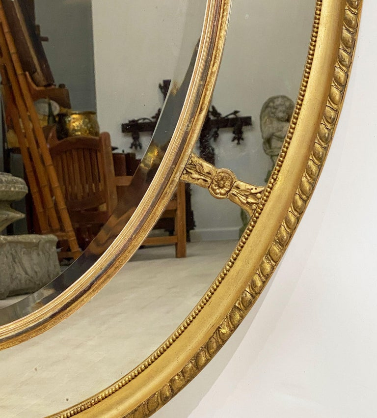 Large English Segmented Gilt Oval Wall Mirror For Sale 3
