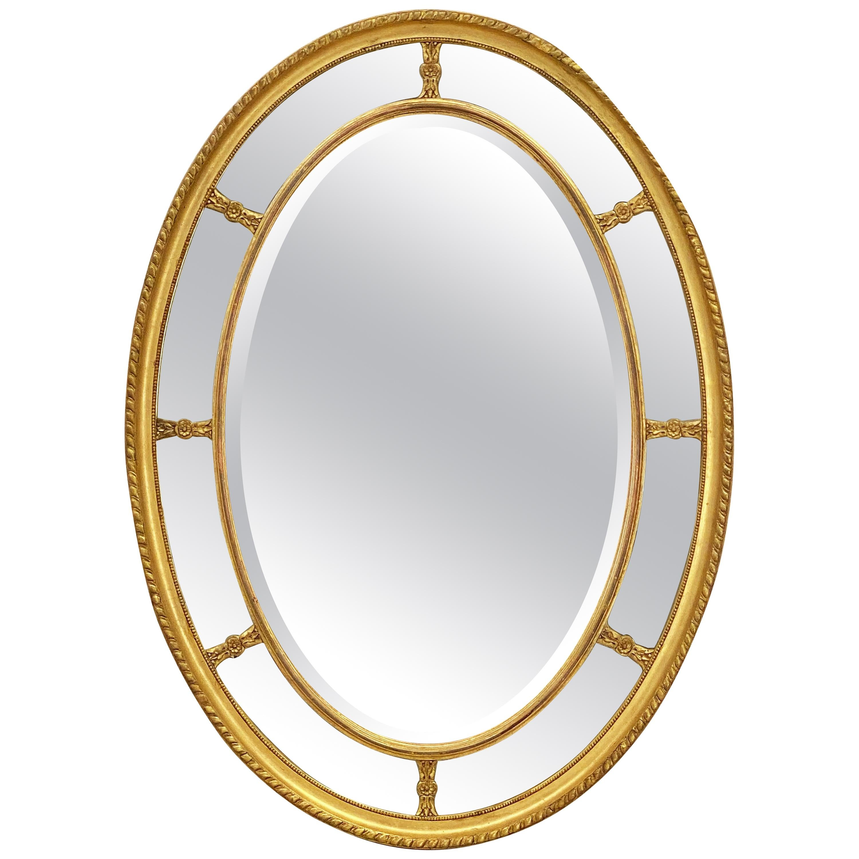 Large English Segmented Gilt Oval Wall Mirror (H 44 3/4 x W 32 1/4)
