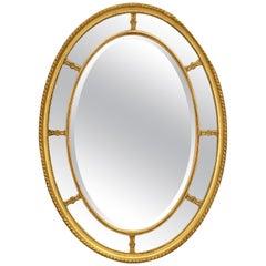 Large English Segmented Gilt Oval Wall Mirror